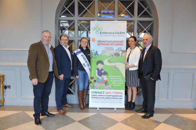 Pictured at the Embrace Farm Accident Survivors Conference in Portlaoise-on November 25 were Francie O'Gorman, Ballinakill, Chairman Laois IFA, James Healy, National President of Macra Na Feirme, Emma Birchall, Queen of the Land with Brian and Norma Rohan, Mountrath, Co. Laois, founders of Embrace Farm