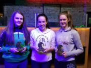 Portlaoise Camogie members Sara Fleming, Niamh Crowley and Amy Byrne who were part of the Laois U-16 All Ireland Team who were presented trophies from the club in recognition of the accomplishment