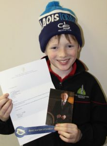 Luke Devitt received a letter from the president Michael D Higgins