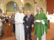 Kyrle Delaney with Fr Seán Kelly and Fr Seán Maher after being presented with his medal from Pope Francis