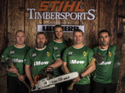 Team Ireland - Daragh Clogher (Meath), Leo Brophy (Laois), Gavin Thompson (Laois), Patrick Fitzpatrick (Laois) Seamus Ryan (Carlow) at the Timbersports championships
