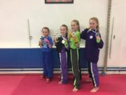 Caitlin Knight Champion, Hannah Reinhardt Champion, Ciara McPartlan 2nd place, Amelia Reinhardt 2nd place - winners for Laois Martial Arts