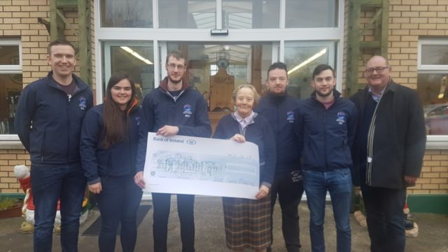 Members of the East Laois Macra present the cheque: Stephen George, Maeve Phelan, Murtagh Condron, Sr. Consilio, Kieran George, Peter Farrell, Liam McLoughlin to Sr. Consilio & Liam McLoughlin
