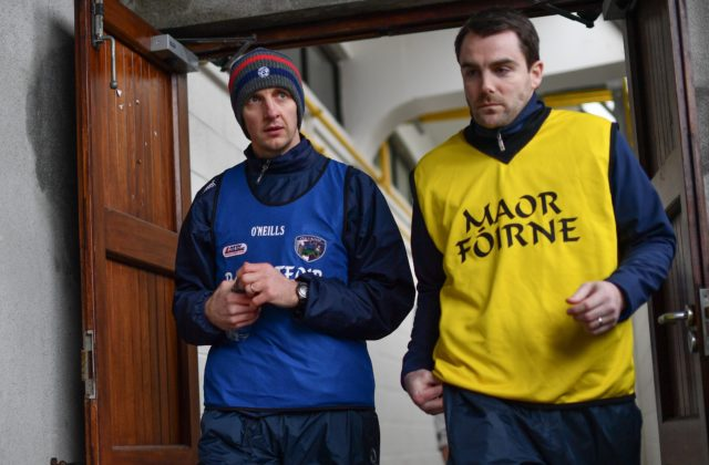Laois manager John Sugrue, left, and selector Eoin Kearns ahead of the Bord na Móna O'Byrne Cup Group 4 First Round match between Westmeath and Laois at TEG Cusack Park in Westmeath