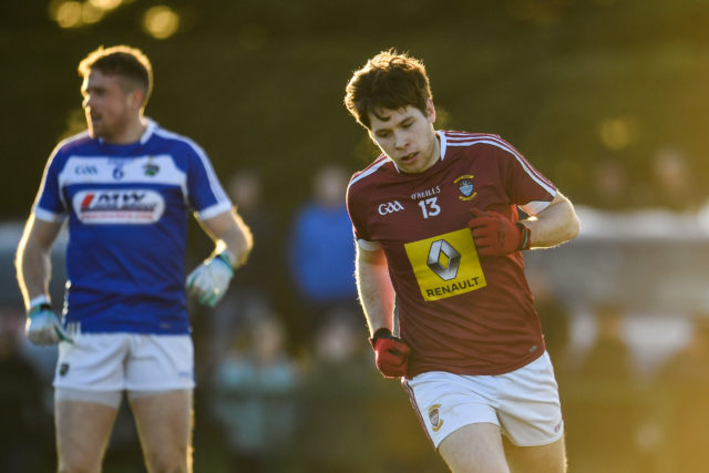 Callum McCormack of Westmeath celebrates after scoring his sides second goal during the Bord na Mona O'Byrne Cup