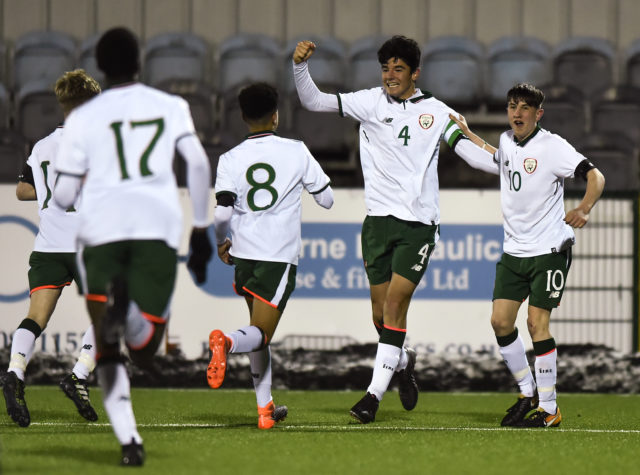 Anselmo Garcia McNulty of Republic of Ireland celebrates with, Conrad Egan Riley and Colin Conroy after scoring his side's first goal during the Under 15 International Friendly match between Republic of Ireland and Cyprus at Oriel Park in Dundalk, Co Louth
