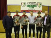 Clonaslee-St Manman's players display their various trophies
