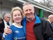 Emma Hooban with her dad Pat at full time after the big win