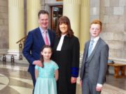 Judge Geraldine Carthy with husband Noel and children Grace and Liam.