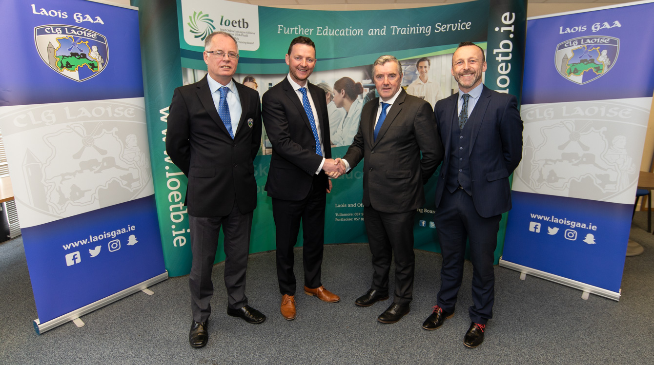 Pictured at the launch were Tony Dalton, L.O.E.T.B Peter O'Neill, Chair Laois G.A.A Joe Cunningham, Chief Executive Laois/ Offaly Education Training Boards and Laurence Phelan, Laois G.A.A Football Board Chairperson. Photo Denis Byrne
