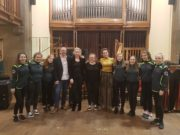 Music Generation Laois Senior Harp Ensemble together with Siobhán Buckley (tutor), Rosa Flannery (Coordinator Music Generation Laois), and Catriona McKay and Chris Stout at the Edinburgh International Harp Festival 2018