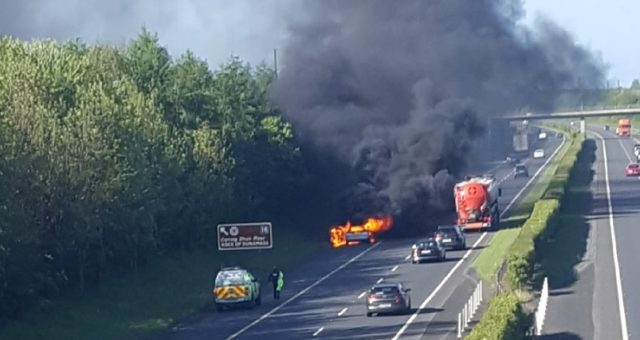 Vehicle on fire on the M7