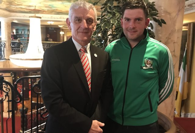 CCFL Chairman and Laois County Cllr James Kelly with Rosenallis' Donal Lalor