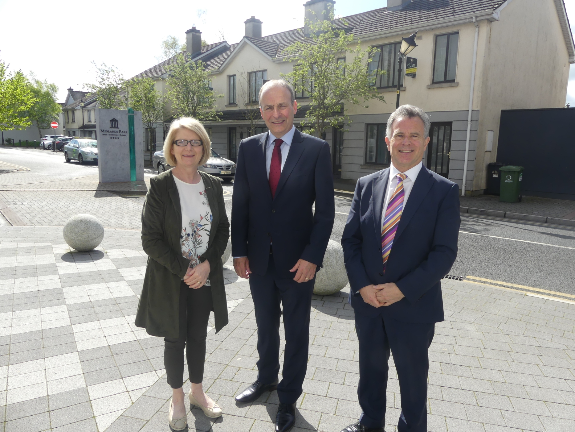 Fianna Fail Cllr Catherine Fitzgerald, leader Micheal Martin and TD Seán Fleming at the Midlands Park Hotel