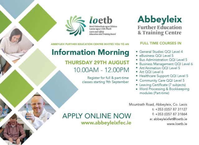 Open Information Morning for courses in Abbeyleix Further