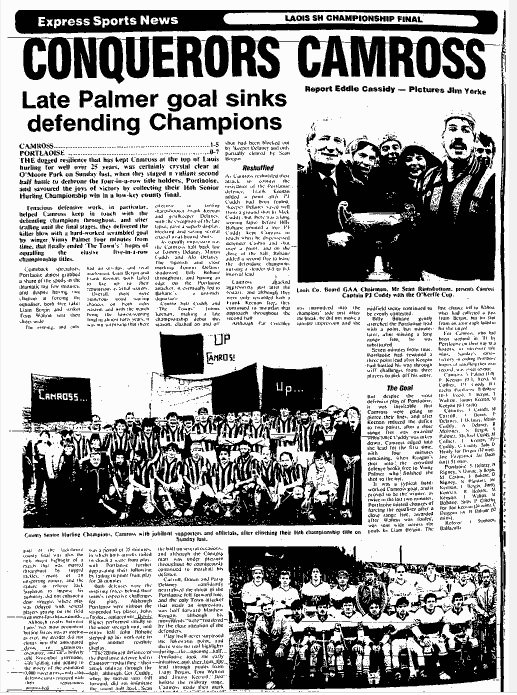 The Leinster Express coverage of Camross's 1985 Laois SHC success