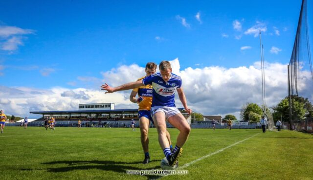 Donie Kingston in action for the Laois footballers against Clare in Ennis