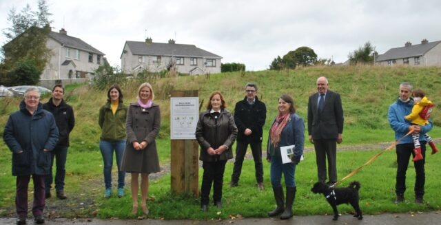 Minister Hackett pictured at the launch of the NeighbourWood project in Abbeyleix with Brian Maher, Mark Clancy, Niamh Hennessey, Mary White, Robbie Quinn, Dr. Fiona MacGowan, Cllr. John Joe Fennelly and landscape architect Bryan Gaynor with his daughter, Lucy Gaynor